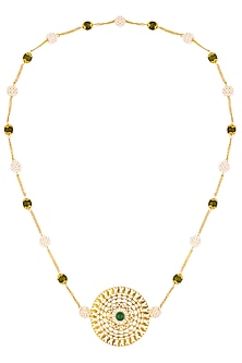 Gold Plated Green Onyx Paisley Motif Circular Pendant Necklace by Ahilya Jewels