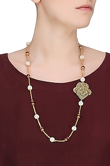 """Gold Plated Indian Motif """"Kairi"""" Or Paisley Filigree Pendant Necklace by Ahilya Jewels"""