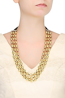 Gold Plated Dholki Shaped Beads Triple Strand Necklace