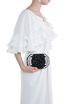 Black Embroidered Box Clutch by Ash Amaira