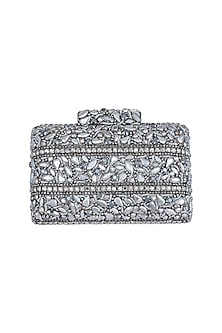 Grey Embroidered Crystal Clutch by Ash Amaira