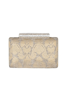 Gold Embroidered Crystal Clutch by Ash Amaira