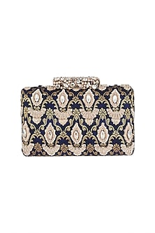 Gold & Navy Blue Embroidered Clutch by Ash Amaira