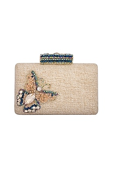 Beige Handmade Embellished Butterfly Clutch by Ash Amaira