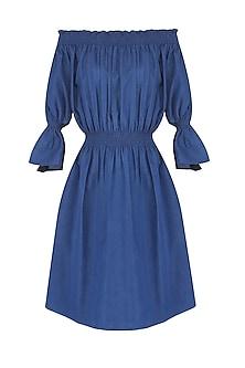 Blue off Shoulder Ruffle Split Sleeves Dress by Ankita