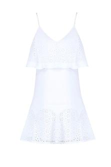 White Lace Spaghetti Strap Mini Dress by Ankita