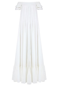 Off White Off Shoulder Ruched Maxi Dress by Ankita