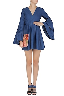 Blue Pleated Beller Dress by Ankita