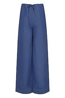 Blue Straight Fit Pyjama Pants by Ankita