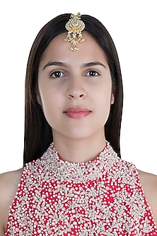 Gold Finish Kundan & Pearl Maang Tikka by Anjali Jain