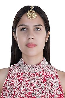 Gold Finish Pearls & Kundan Maangtika by Anjali Jain