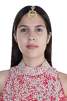 Gold Finish Pearls & Kundan Maangtika by Anjali Jain