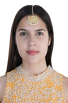Gold Finish Pearl Kundan Maang Tikka by Anjali Jain