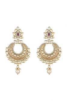 Gold Finish Onyx Stones, Kundan & Pearls Carved Chandbali Earrings by Anjali Jain