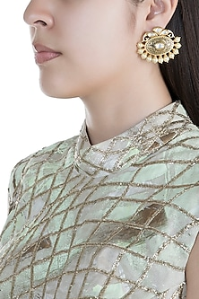 Gold Finish Kundan Antique Textured Earrings by Anjali Jain