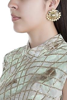 Gold Finish Kundan Antique Textured Earrings by Anjali Jain
