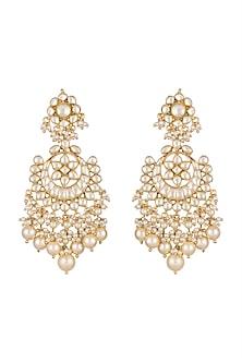 Gold Finish Pearls & Kundan Chandbali Earrings by Anjali Jain