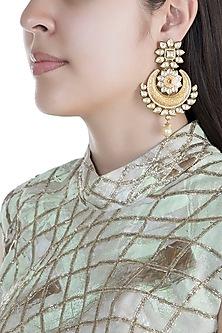 Gold Finish Kundan & Pearls Carved Chandbali Earrings by Anjali Jain