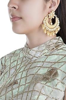 Gold Finish Pearls & Kundan Textured Chandbali Earrings by Anjali Jain