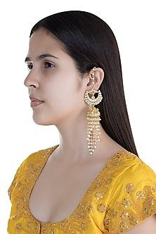 Gold Finish Kundan & Pearls Tasseled Jhumka Earrings by Anjali Jain