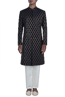 Black Embroidered Sherwani With Pants by Anju Agarwal
