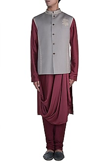 Maroon Kurta Set With Light Grey Embroidered Nehru Jacket by Anju Agarwal