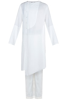 White Kurta with Trouser Pants by Anju Agarwal