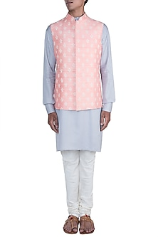 Grey Kurta Set With Peach Embroidered Jacket by Anju Agarwal