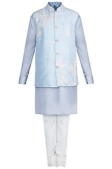 Grey Kurta Set With Baby Blue Embroidered Jacket by Anju Agarwal