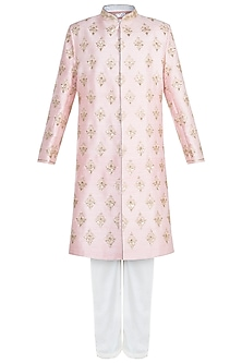 Pink Embroidered Sherwani Set by Anju Agarwal