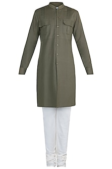 Olive Green Pintuck Kurta Set by Anju Agarwal