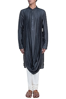 Dark Grey Double Cowl Kurta Set by Anju Agarwal