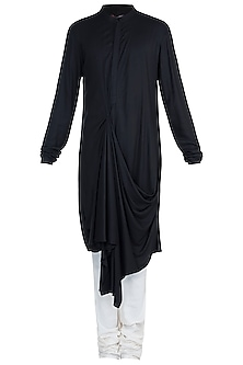 Black Draped Kurta With Churidar Pants by Anju Agarwal