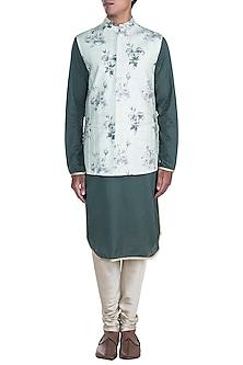 Mint Green Printed Nehru Jacket With Dark Green Kurta Set by Anju Agarwal