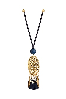 Blue Textured Oval Lumba by Anjali Jain