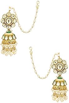 Gold Finish Polki and Pearl Jhumki Earrings by Anjali Jain
