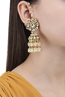 Gold Finish Polki and Pearl Jhumki Earrings