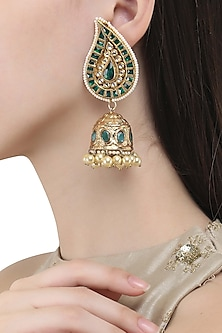 Gold Finish Polki and Emerald Green Stone Jhumki Earrings by Anjali Jain