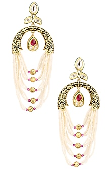 Antique Gold Finish Pearl String Earrings by Anjali Jain