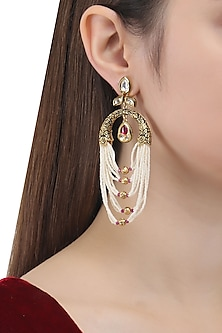 Antique Gold Finish Pearl String Earrings