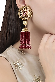 Gold Finish Polki and Ruby Stone Tassel Earrings