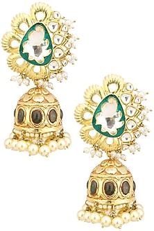 Gold Finish Polki and Enamel Detailing Jhumki Earrings by Anjali Jain