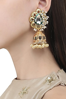 Gold Finish Polki and Enamel Detailing Jhumki Earrings