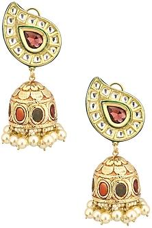 Gold Finish Polki and Ruby Stone Jhumki Earrings by Anjali Jain