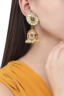 Gold Finish Polki and Ruby Stone Jhumki Earrings