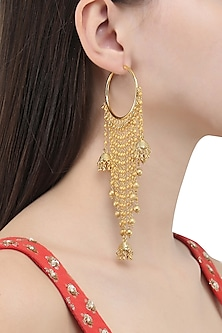 Gold Finish Strings and Jhumki Drops Balis