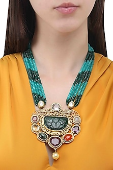 Gold Finish Navratan Stones and Multilayer String Necklace