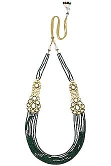 Gold Finish Polki Multilayer String Necklace by Anjali Jain