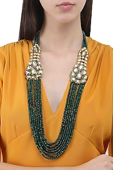 Gold Finish Polki Multilayer String Necklace