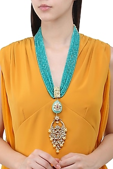 Gold Finish Kundan and Polki Mutilayer String Necklace